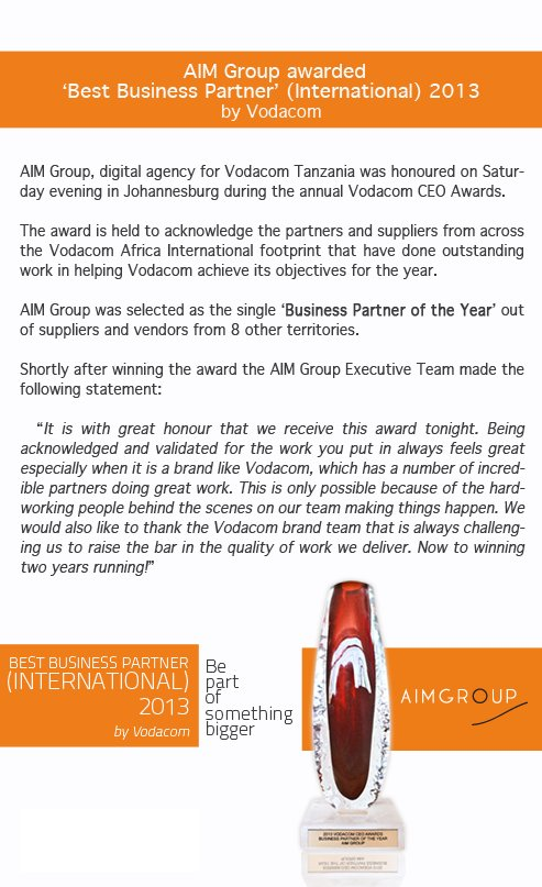 Vodacom awards AIM Group Business Partner of the Year